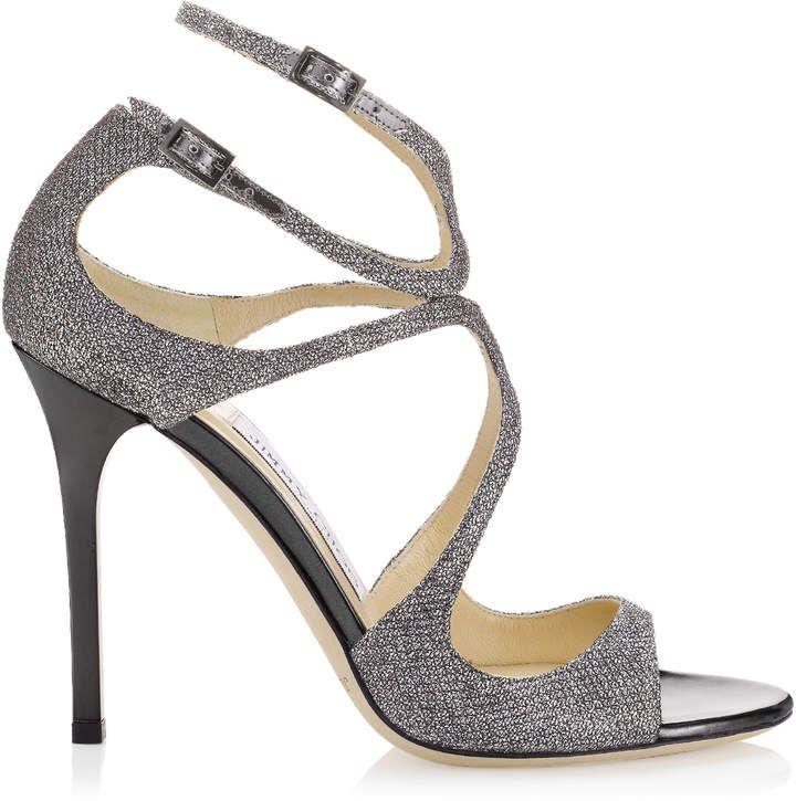 49bb8b0ff906 Jimmy Choo LANG Anthracite Lame Glitter Sandals