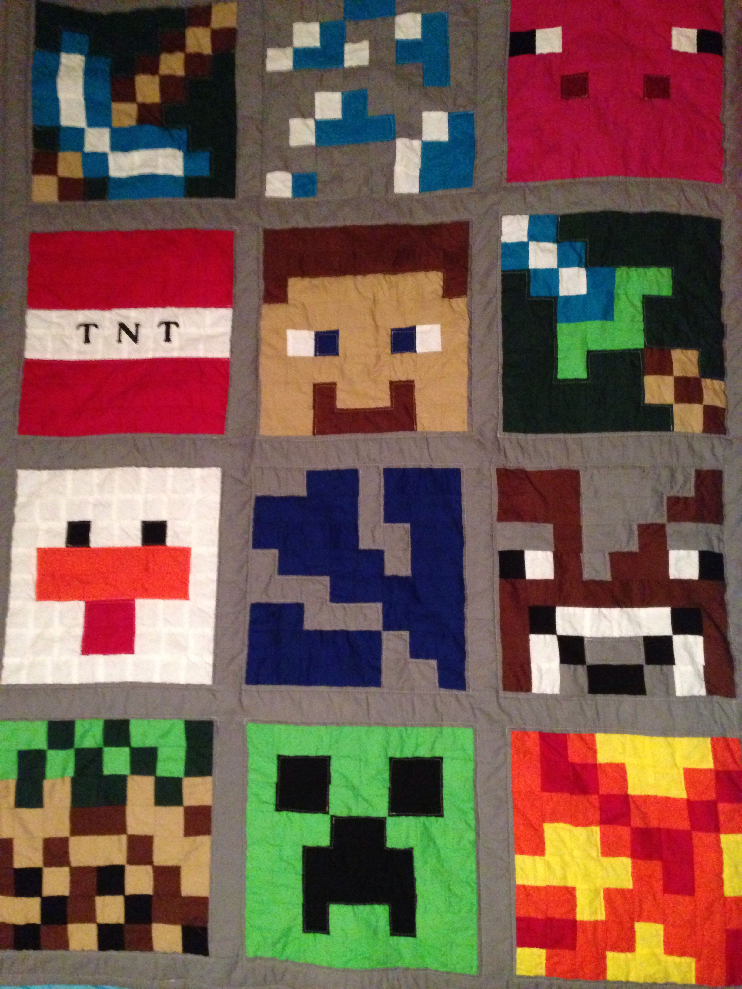 Minecraft Quilt For Connor Minecraft Quilt Quilts Quilting
