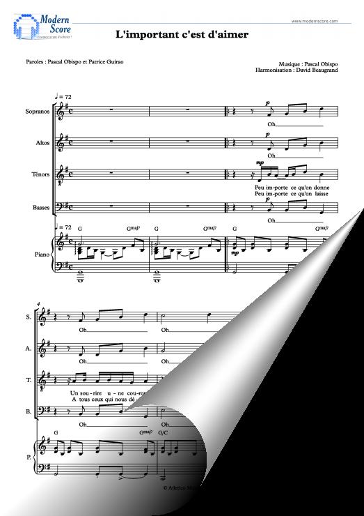 L Important C Est D Aimer Paroles : important, aimer, paroles, L'important, C'est, D'aimer, (SATB), Partition, Chorale, Chorale,, Soprano,