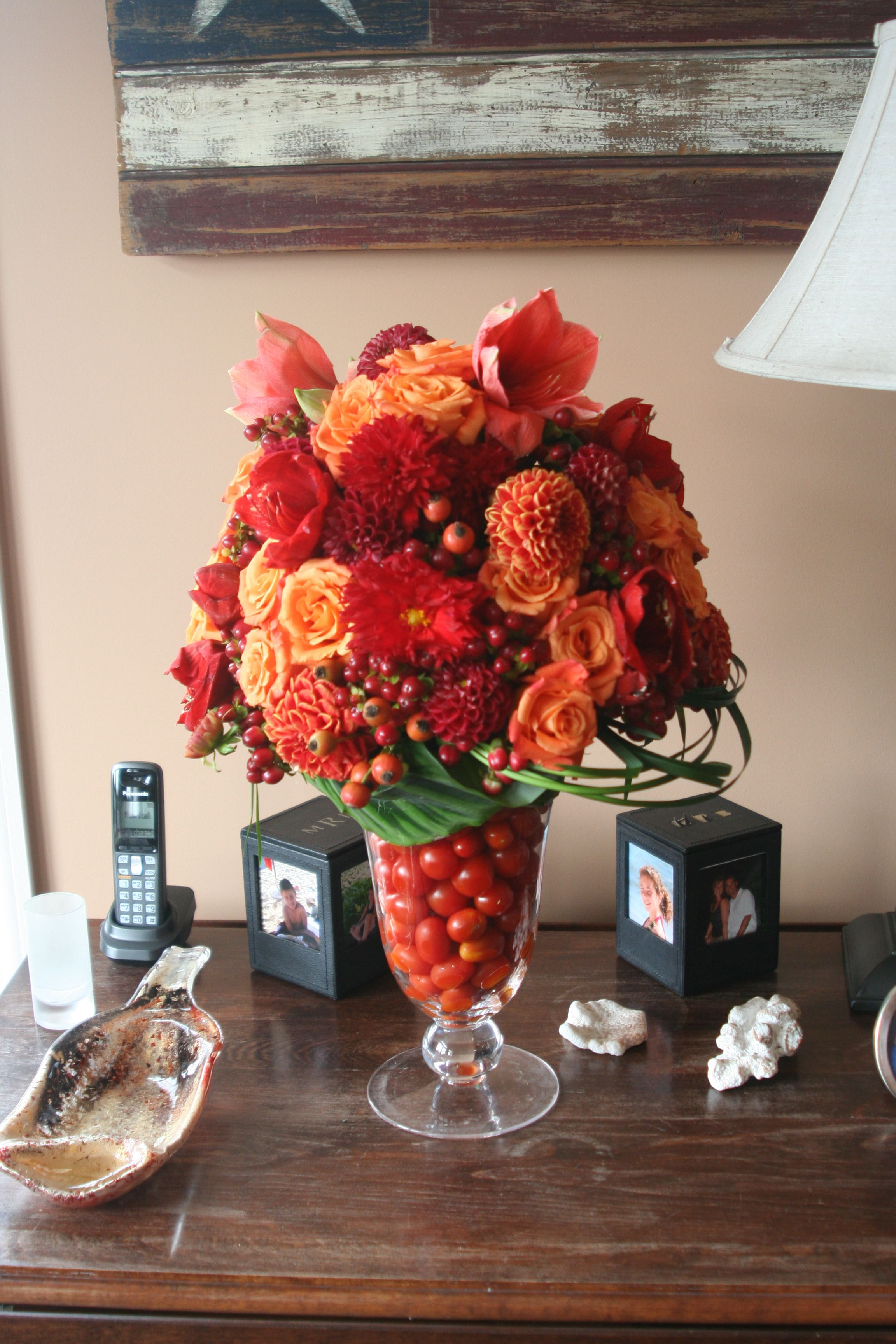 Dahlia With Fall Flowers And Cherry Tomatoes Same Day Flower Delivery