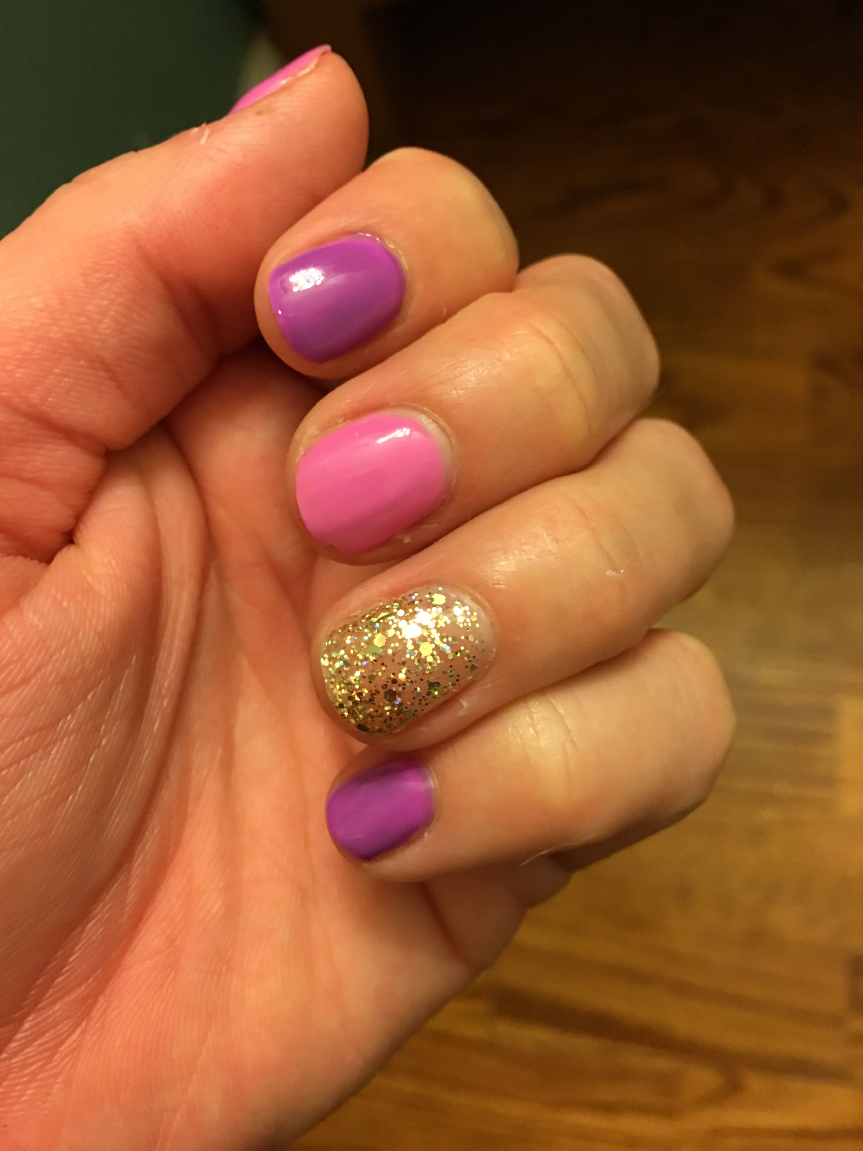 Pink Purple And Gold Nails Simple Nail Art For Short Nails