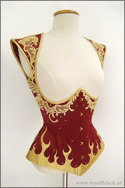 Royal Black Corset Top 'Phoenix'   Fantasy-inspired Corset Top, made from deep red satin, with details and binding made from golden synthetic leather.  The corset is decorated with lasercut flame appliqué, golden lace ornaments and Swarovski crystals.