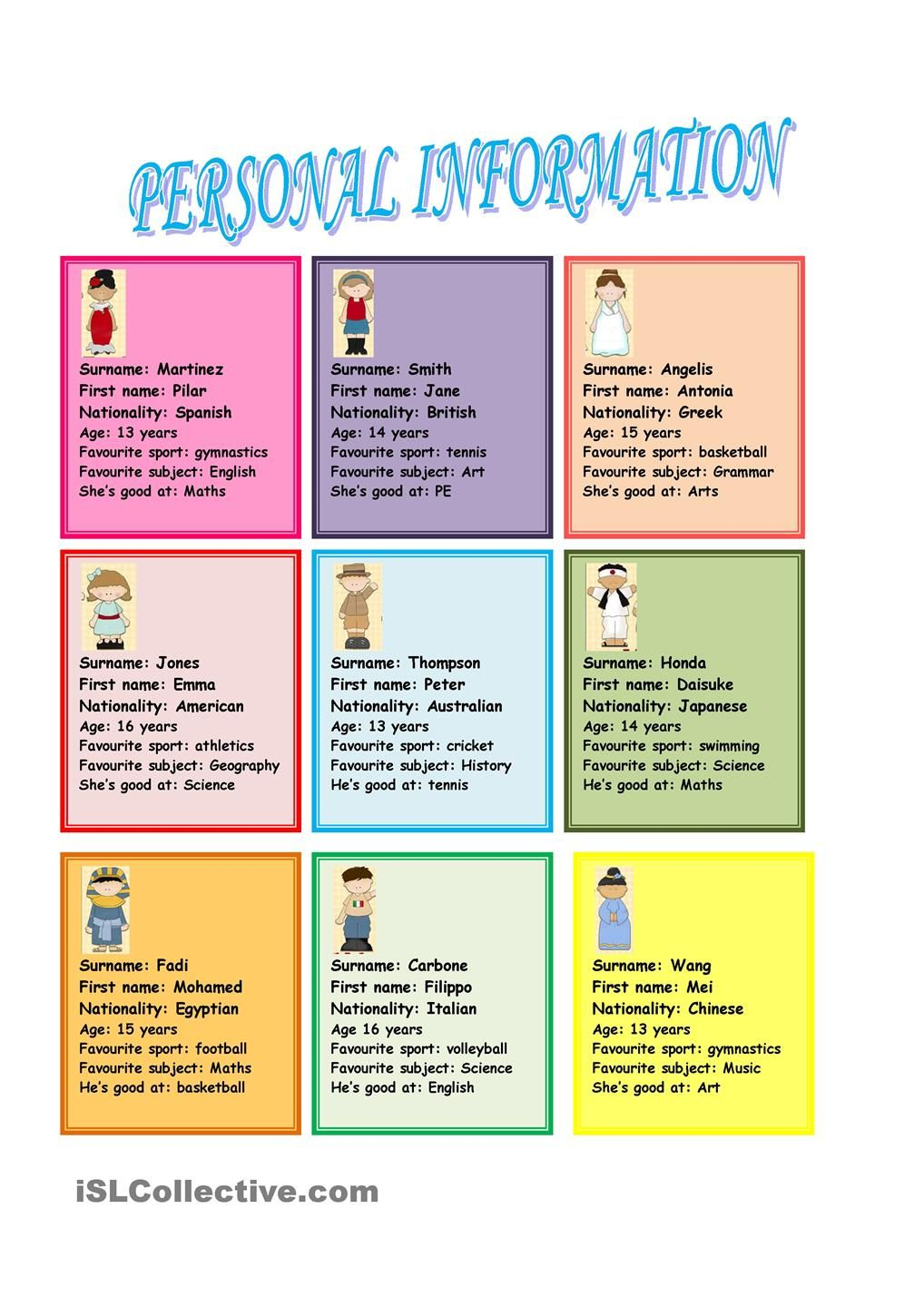 personal information  speaking cards