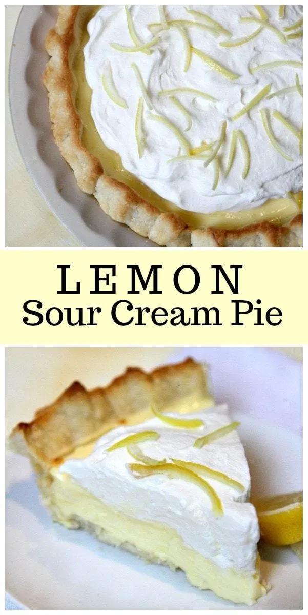 Lemon Sour Cream Pie Recipe In 2020 Lemon Sour Cream Pie Sour Cream Lemon Pie Recipe Cream Pie Recipes