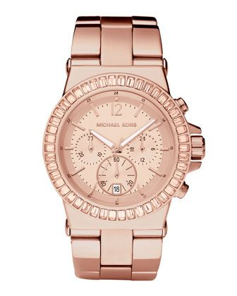 Pave-Bezel Chronograph Watch, Rose Golden by Michael Kors at Neiman Marcus Last Call.