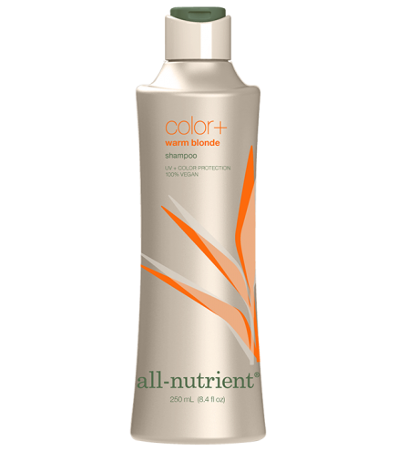 Warm Blonde Color+Shampoo - Enhance warm, gold tones on medium, dark blonde and light brown hair. All-Nutrient Color+ Shampoos have a vitalizing effect on the scalp and roots. Their blend of nourishing botanical extracts and vitamins encourages hair to grow in healthy from the start and creates extra body, manageability and shine. This advanced professional formulation gently bathes hair with moisturizers, leaving it healthy and vibrant, with renewed bounce.