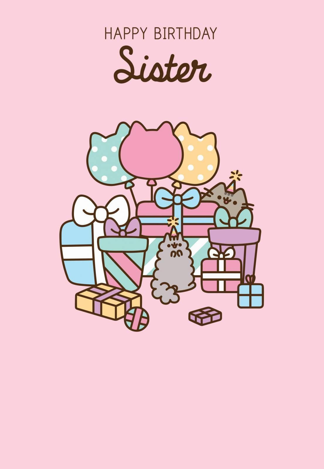 163 2 49 Gbp Pusheen Happy Birthday Sister Card Gift Ebay