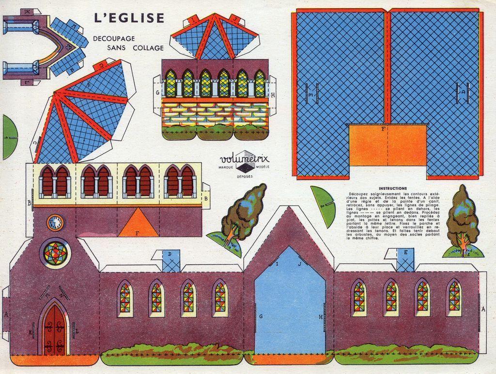 Village en papier l 39 glise il suffit d 39 imprimer les planches et de d couper pas besoin de - Maison papier a decouper ...