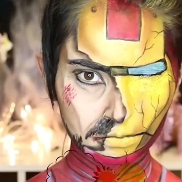 Halloween Makeuptony Stark Iron Man By Laura Sanchez This Video Is Up On My English Channel Wi Superhero Face Painting Superhero Makeup Face Painting Halloween