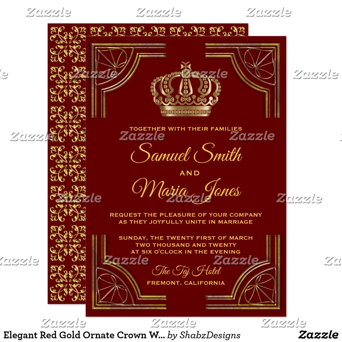 Elegant Red Gold Ornate Crown Wedding Invitation | { Wedding ...