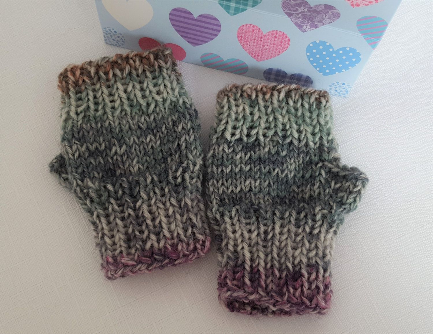 Toddlers Hand Knitted Fingerless Gloves - Babies Wool Mittens ...