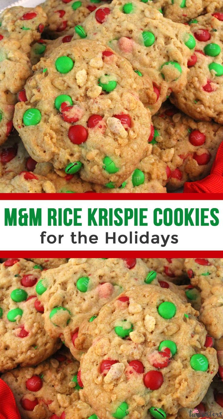 M&M Rice Krispie Christmas Cookies #holidaydesserts