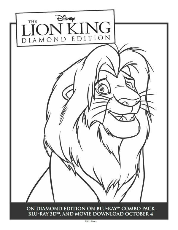 Lion King Simba Printable Coloring Sheet   Printable Coloring Pages ...