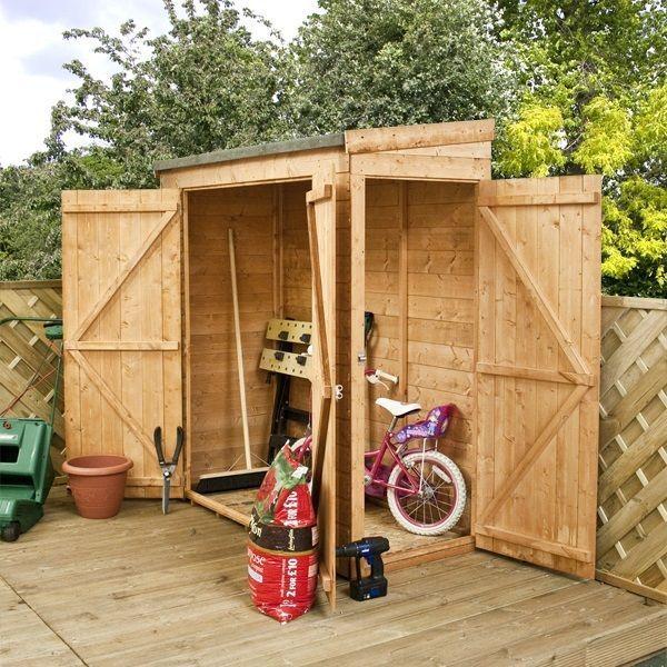 6ft x 2 6 pent roof log bike storage shed outside garden store door - Garden Sheds 6 X 2