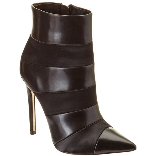 Rachel Zoe Rachel Zoe Leather Bootie ($176) ❤ liked on Polyvore featuring shoes, boots, ankle booties, black, black ankle booties, faux-leather boots, black booties, black leather boots and short black boots