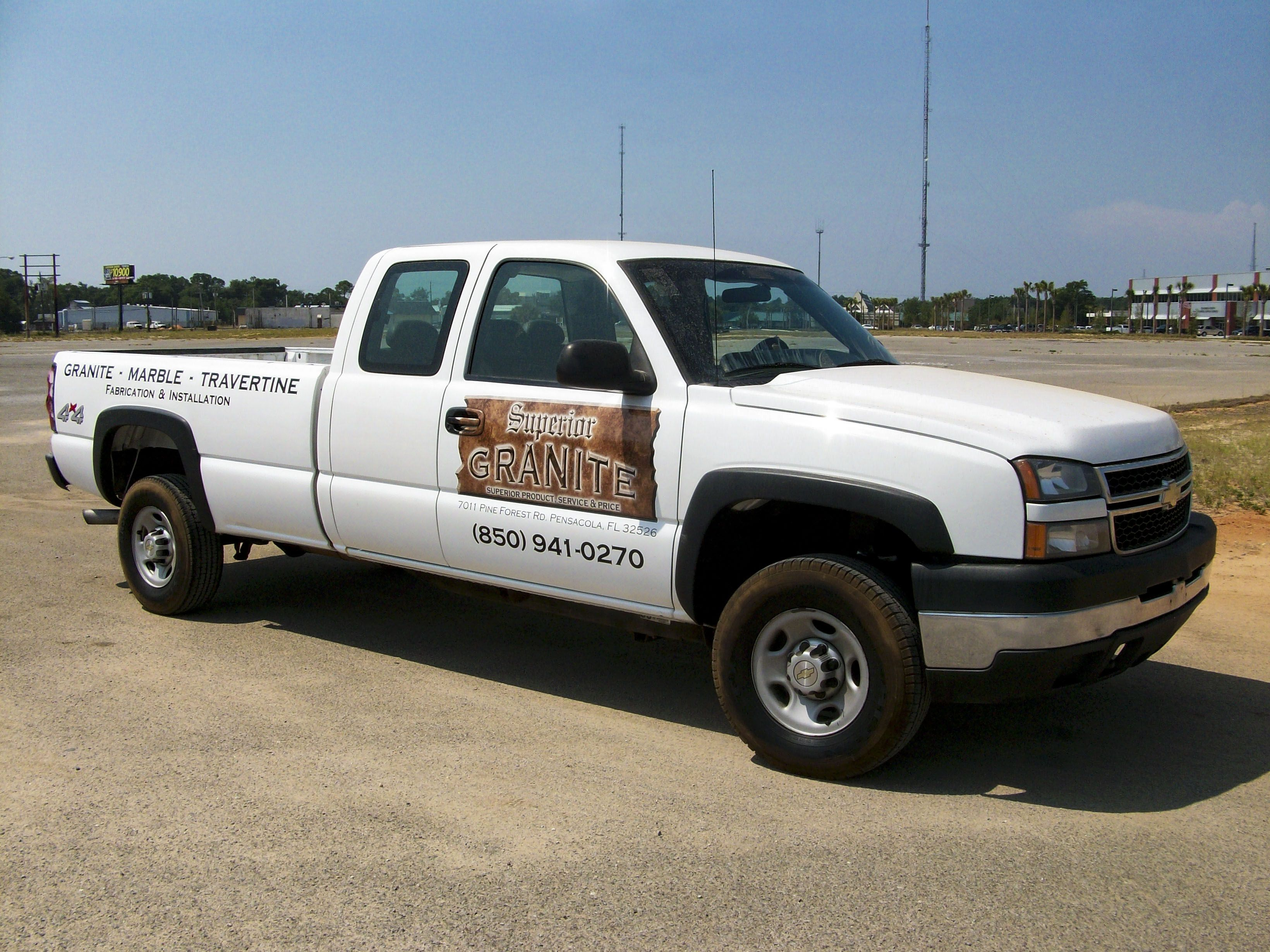 Truck graphics for Superior Granite by Pensacola Sign in Pensacola