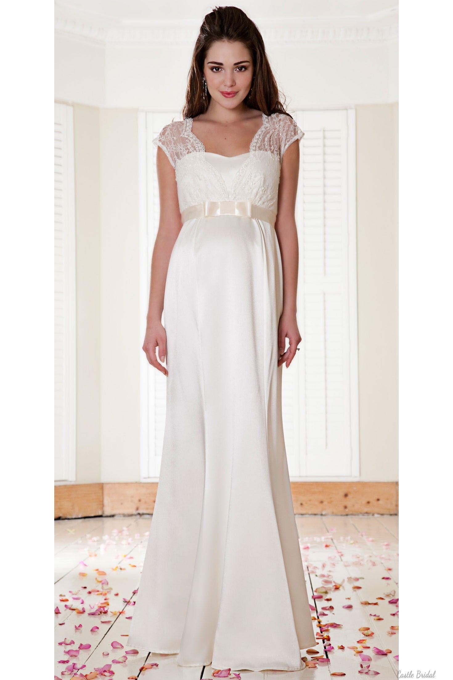 Romantic Lace And Satin Long Mermaid Maternity Wedding Dress