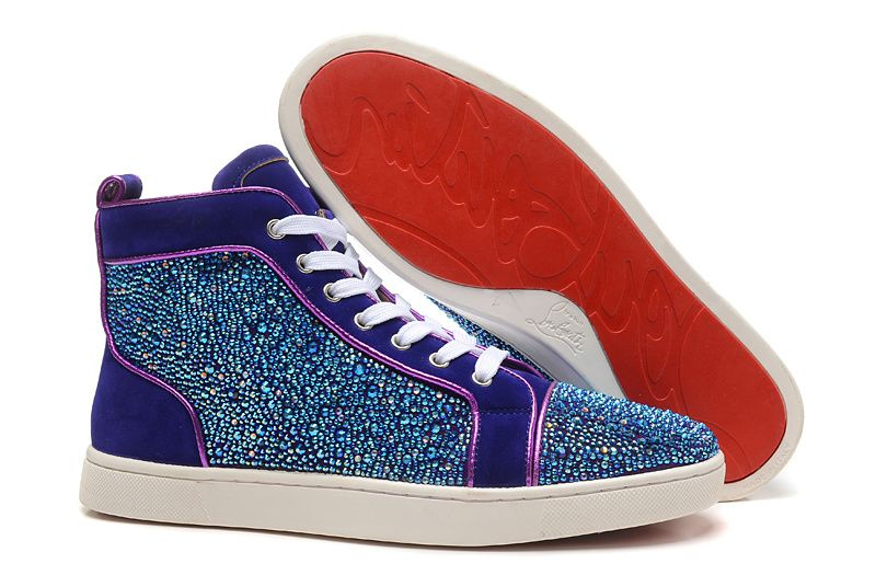 Christian Louboutin Purple Rhinestone High Sneakers