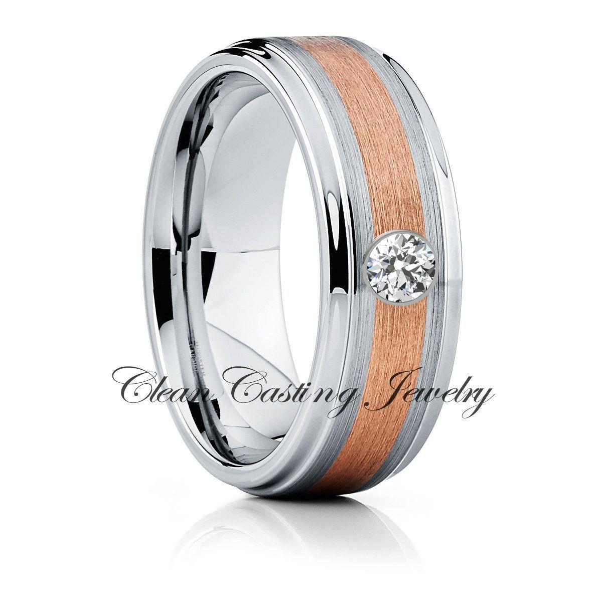 Diamond Tungsten Wedding Band, Rose Gold Tungsten Ring