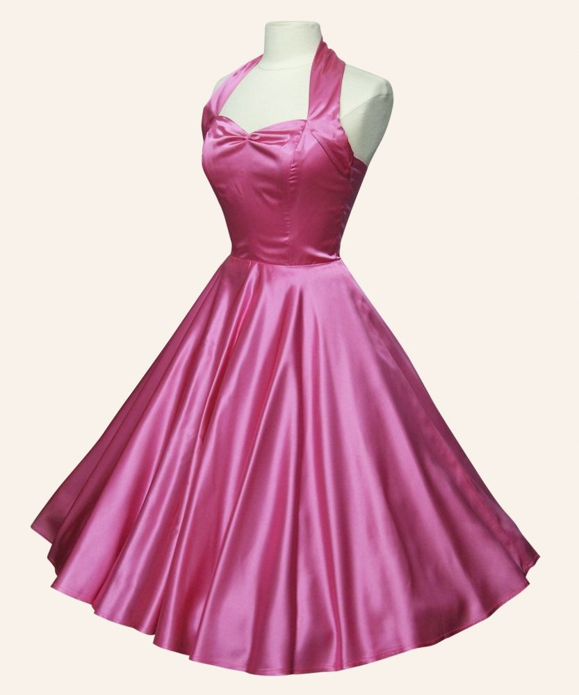 I love this pink satin dress, the sweetheart neckline with halter is ...