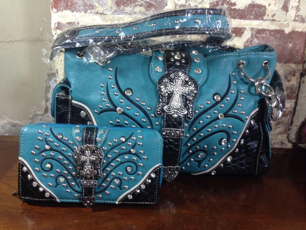 342f051fef57 Purse Womens Western Blue Teal Rhinestone Cross Belted Studded Handbag  Wallet