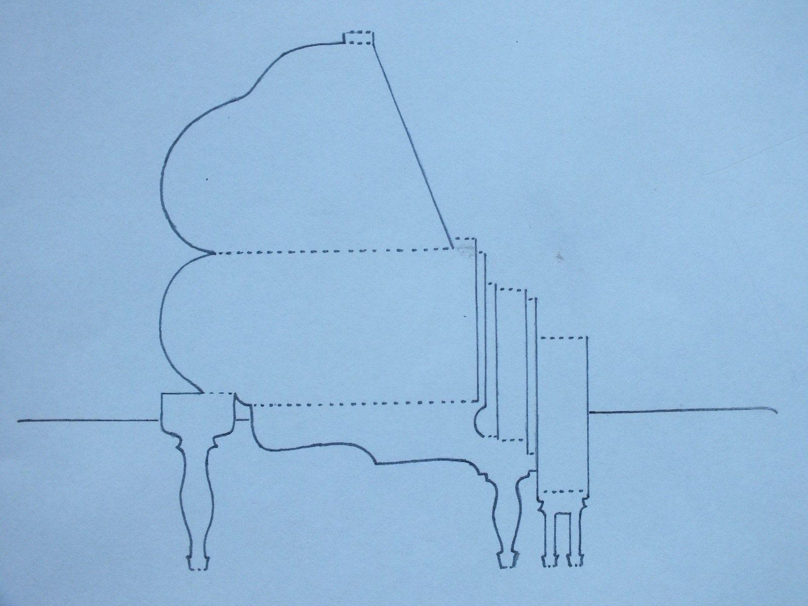 Открытка рояль объемная