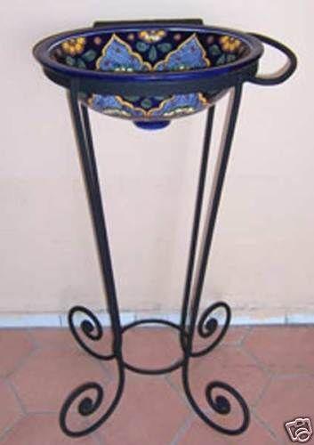 01 Wrought Iron Pedestal Base Mexican Bathroom Sink Ebay