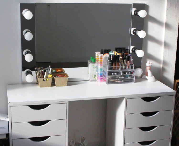 Diy vanity desk mirror w led lights