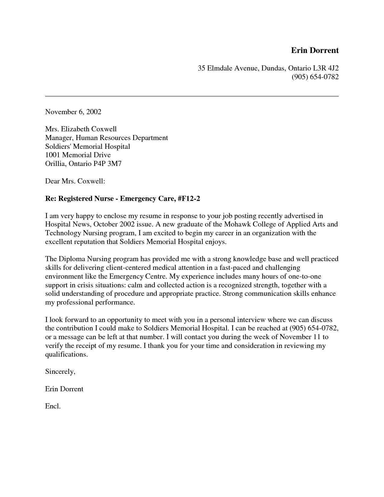 New Grad Nursing Cover Letter