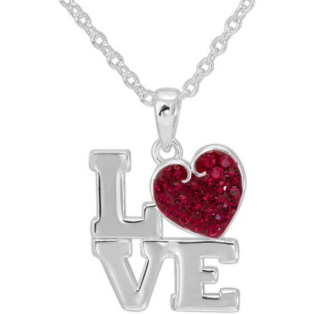 Jewelry Gift Boxes Walmart Alluring Ruby Crystal Silverplated Love Pendant 18 Inch Chain Women's Design Inspiration
