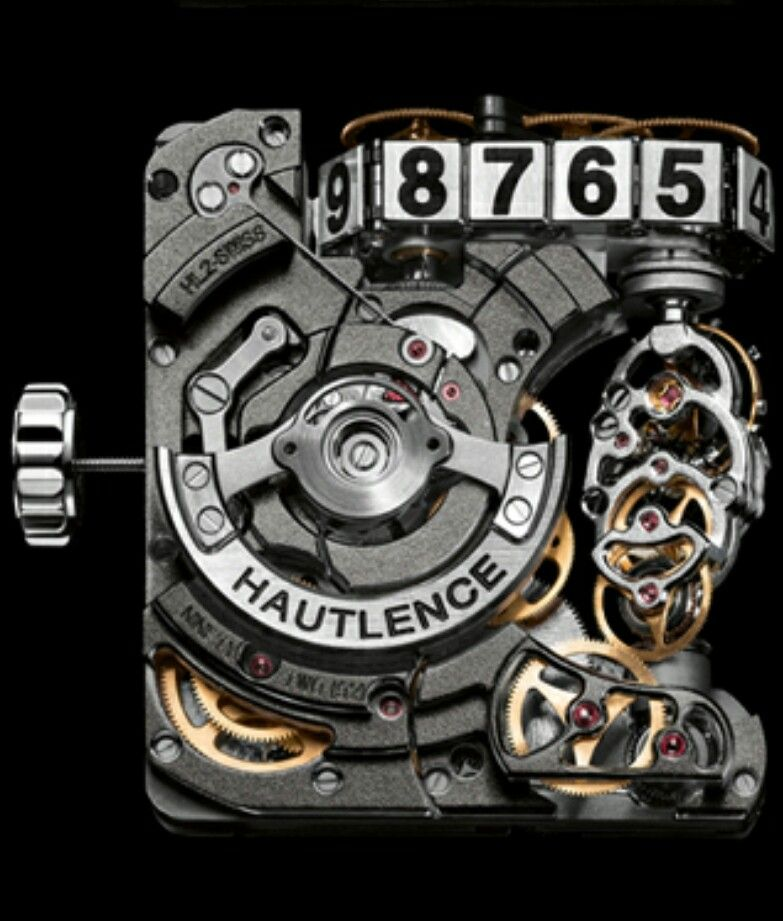 Hautlence HL2.5 – a new sporty edition of a crazy machine, Movement (Back) - HAUTLENCE HL2.0 in-house calibre including gear train and automatic winding system.  Half-trailing hours displayed by a chain, retrograde minute, mobile bridge-type calibre.   DISPLAY  Hours, retrograde minutes and power-reserve indicator.   CALIBRE  Calibre description :     2 barrels : one finishing barrel (power reserve for the entire watch calibre including power for the second barrel) and a complication barrel…