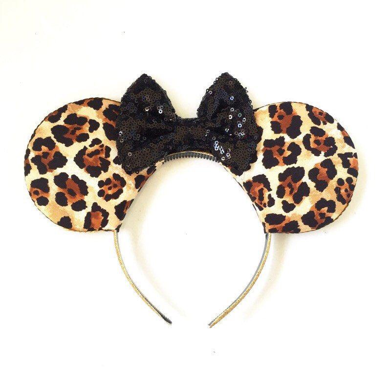 Animal Minnie Ears| Pink and Black Minnie Mouse Ears Leopard Minnie Ears Magical Kingdom Mouse Ears Minnie Mouse Ears