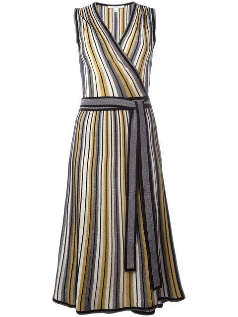 DIANE VON FURSTENBERG Wrap Front Striped Dress. #dianevonfurstenberg #cloth #dress