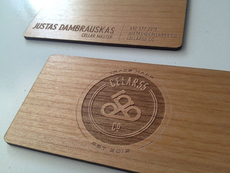 Classy wooden business card for a wine cellar wood laser for Laser etched business cards