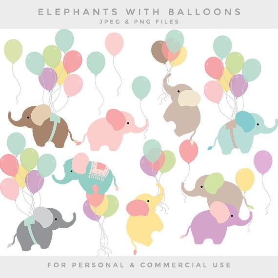 Nursery Clipart Baby Elephant Clip Art Balloon Elephants Etsy Elephant Clip Art Baby Clip Art Balloon Art