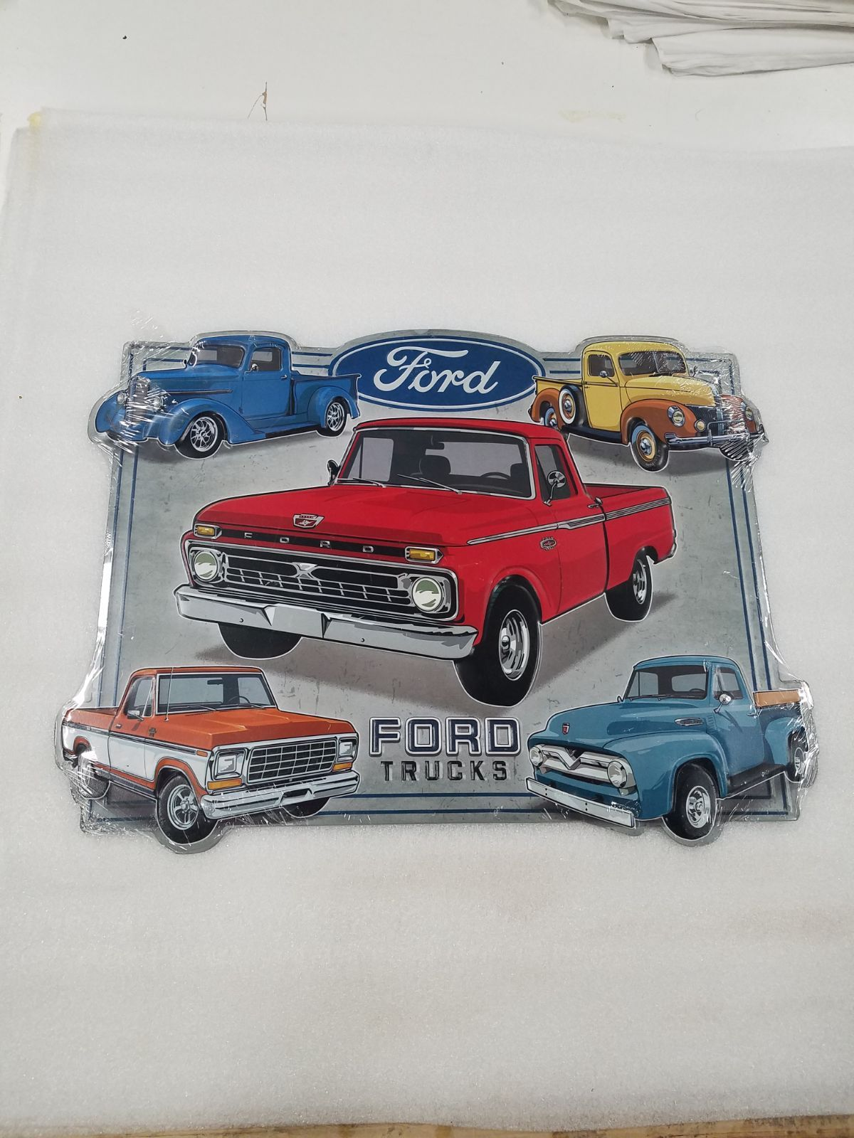 Ford Truck Mixed Years Models Metal Sign Ford Truck Built Ford Tough Trucks