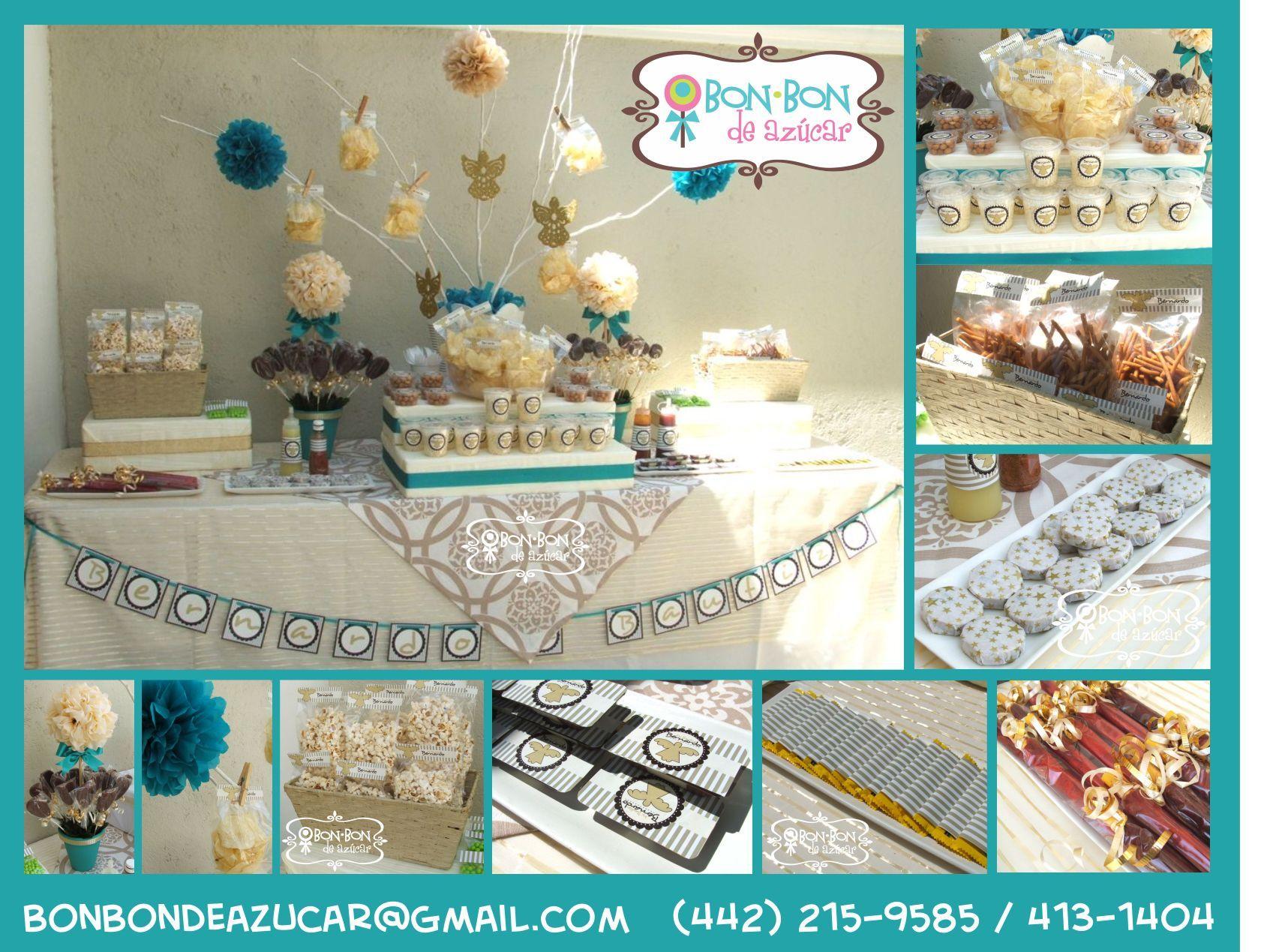 Barra de dulces y snacks en beige, turqueza y oro viejo