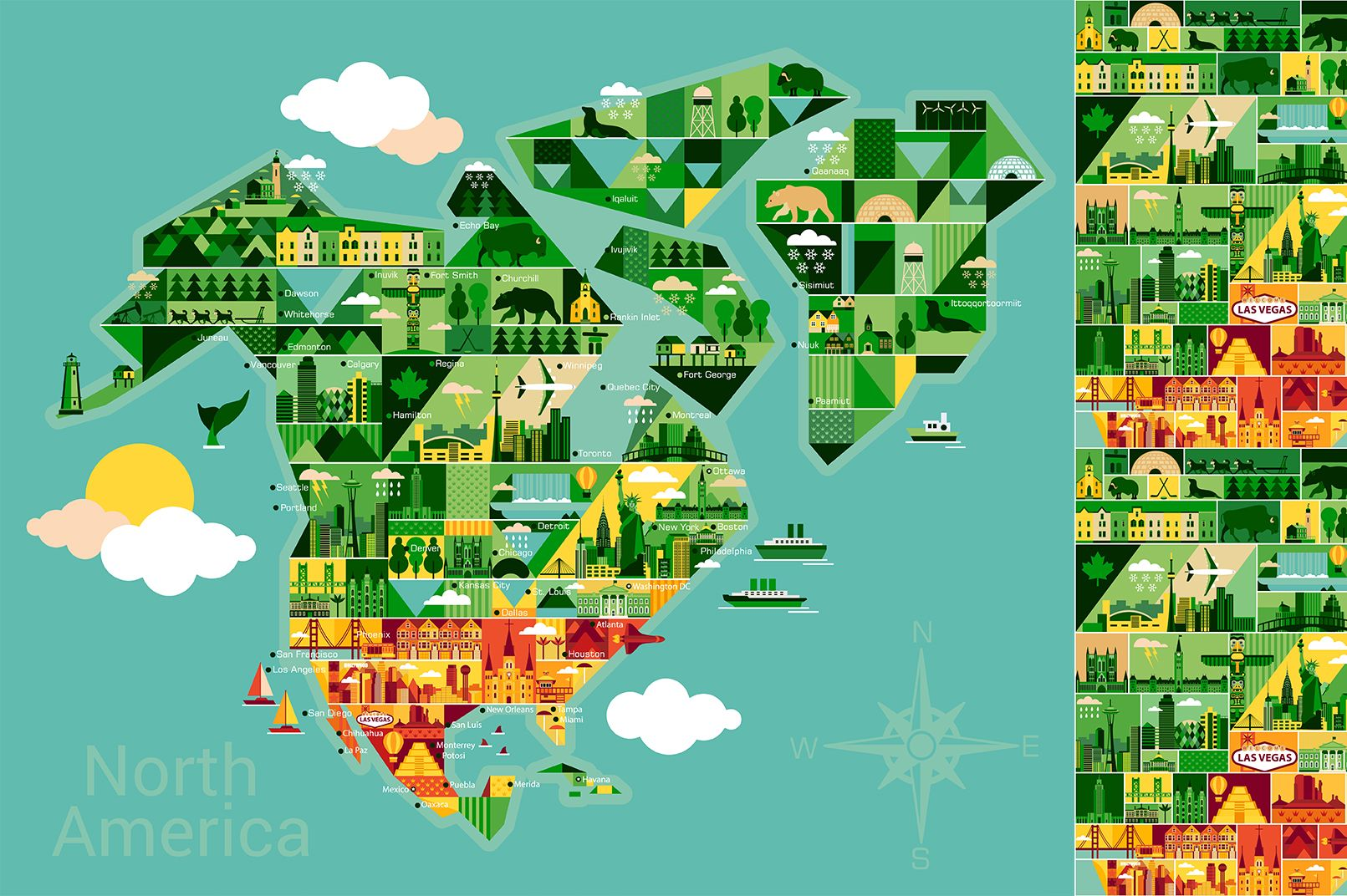 Cartoon map of North America by Moloko88 on @creativemarket