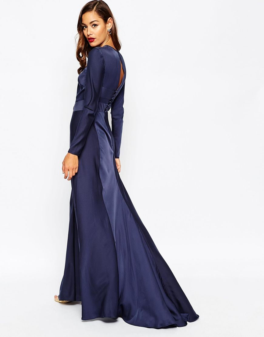 Image 2 of ASOS Red Carpet Panelled Long Sleeve Satin Maxi Dress ...