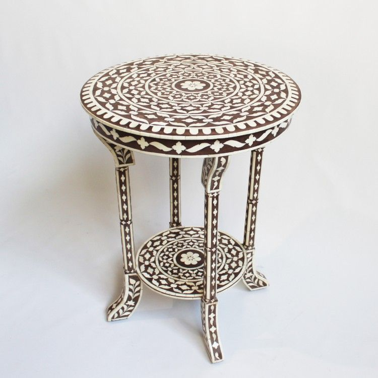 Traditional Indian Bone Inlay Work With Chocolate Brown Ground. Great As A  Side Table In Seating Area Or Bedside.