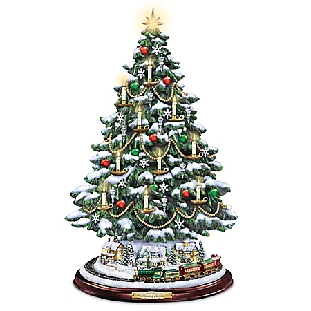 Painting Wonderland Express Animated Tabletop Christmas Tree With Train In 2020 Thomas Kinkade Christmas Desktop Christmas Tree Silver Christmas Tree