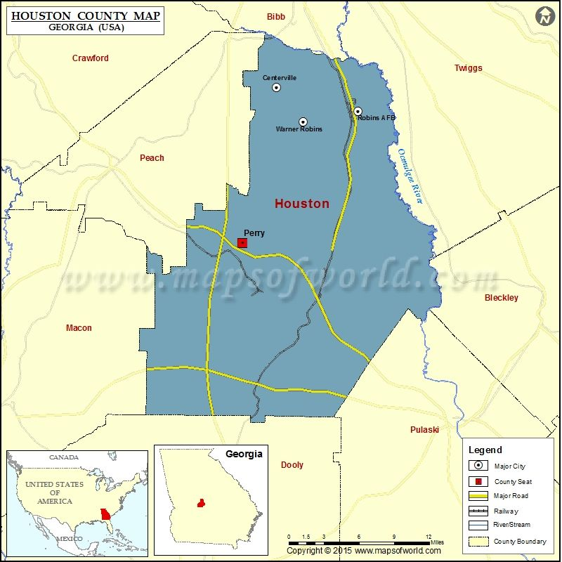 Map Of Houston County In Georgia Usa County Map Pinterest