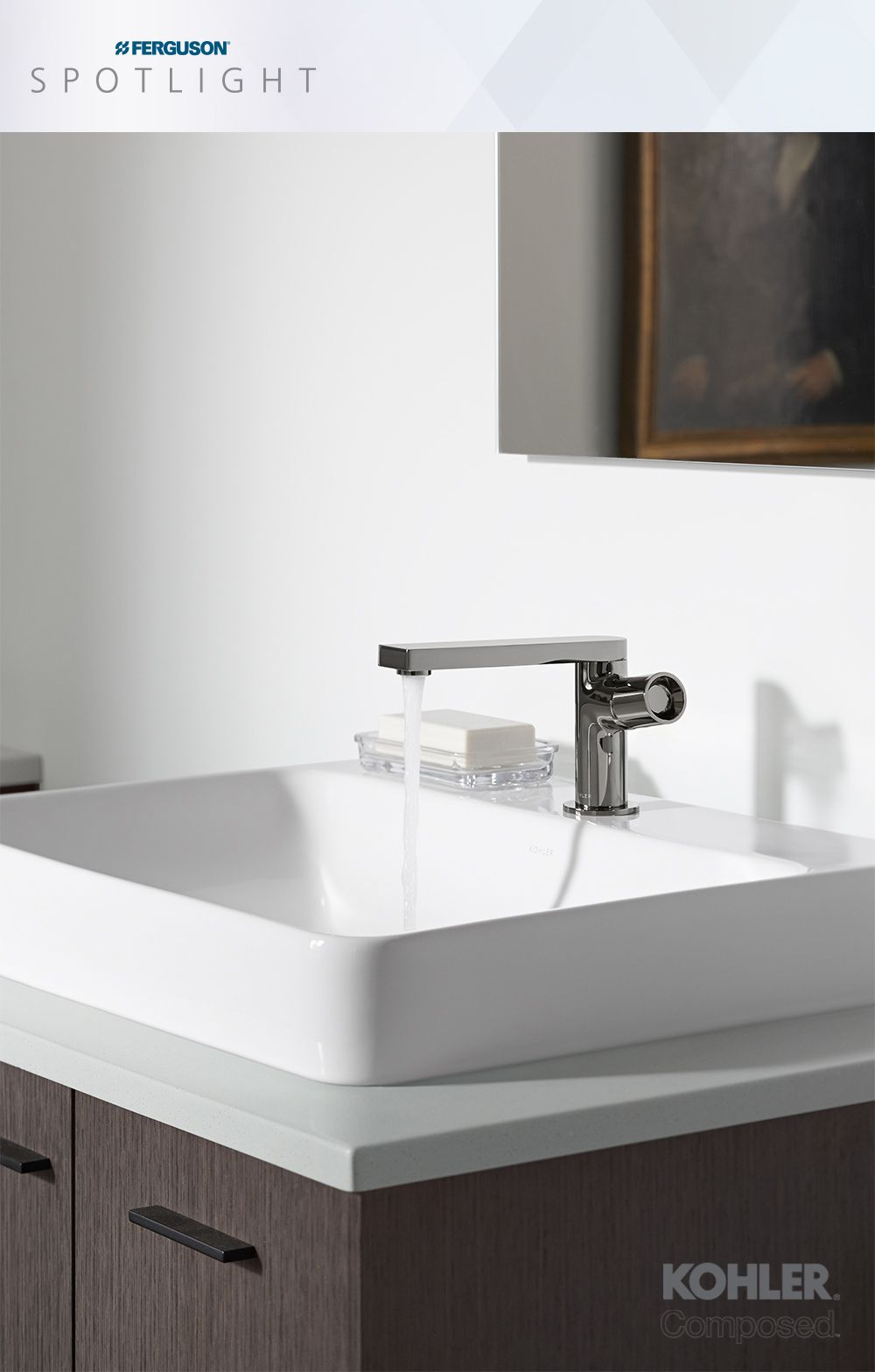Timeless and deliberate, the KOHLER Composed faucet exhibits the ...