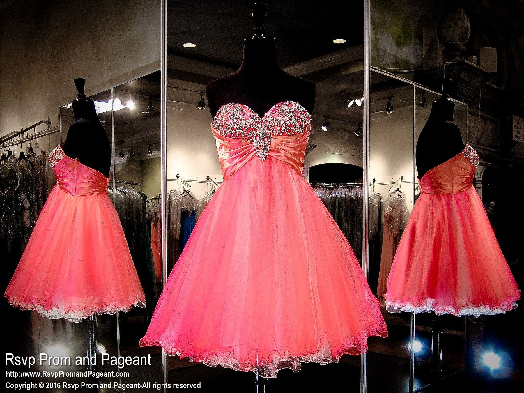 Coral Sweetheart Strapless Tulle Homecoming Dress | vestidos ...