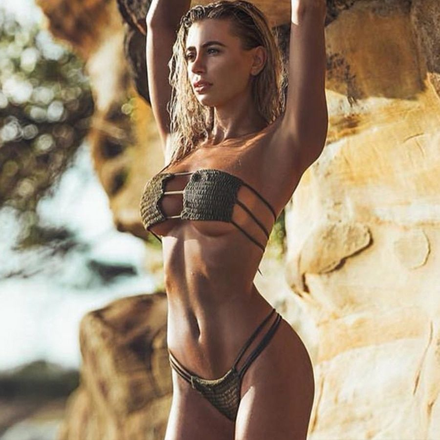 7baf216f385 Find More Bikinis Set Information about Bandeau Thong Bikini 2019 New  Hollow Out Bandage Brazilian Biquinis