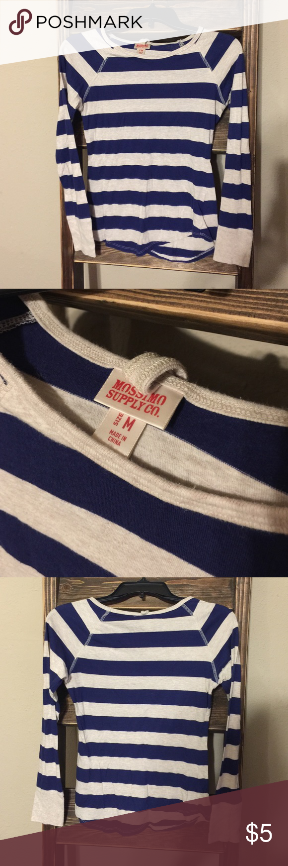 """Women Top Mossimo Medium Striped Long Sleeve shirt Bust 15 and length 22.5"""" Preowned but in Good, clean condition. No tears, rips or stains. Comes from smoke free home. Mossimo Supply Co Tops Tees - Long Sleeve"""