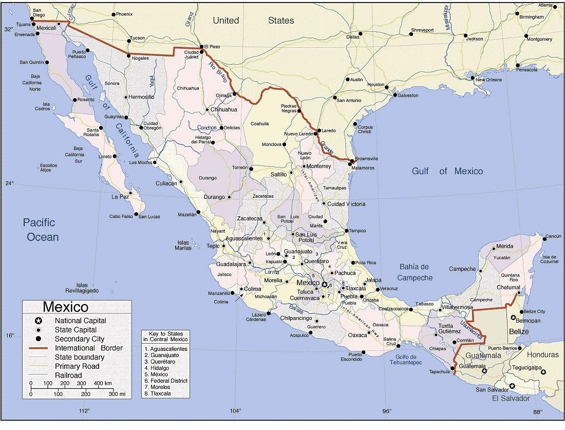 It's just a picture of Exhilarating Printable Map of Mexico