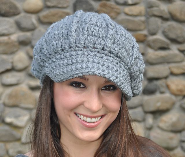 Crochet Newsboy Hat pattern by Eileen Tepper | Tejido