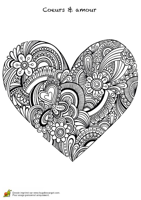 COLOR ME PAGES Heart shaped coloring page design
