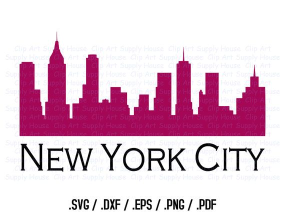 new york city skyline clipart design use with silhouette and cricut rh pinterest com new york city skyline clip art free